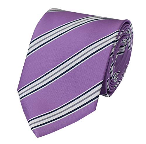 Fabio Farini - cravate rayée de différentes couleurs et largeurs hommes Violet-Blanc-Bleu classique (8 cm)