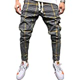 Mens Hip Hop Premium Slim Fit Track Pants, Striped&Plaid Camo Skinny Drawstring Joggers Sweatpants Trousers with Pocket (Yellow, M)