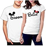 picontshirt Groom & Bride MM Couple T-Shirts Men L/Women M White