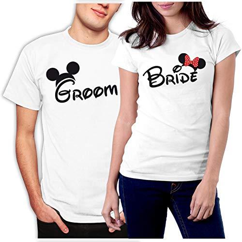 picontshirt Groom & Bride MM Couple T-Shirts Men L/Women M White