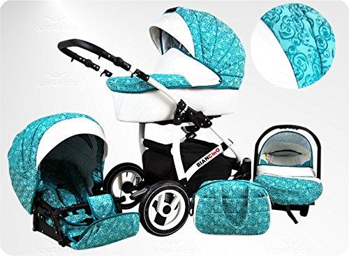 Lux4Kids BIANCinO Kinderwagen Komplettset (Autositz & Adapter, Regenschutz, Moskitonetz, Schwenkräder) 08 Eco Leather White & Mecca