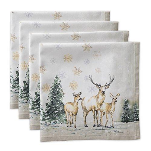Maison d' Hermine Deer in The Woods 100% Baumwolle Weiches und bequemes 4er-Set Servietten für Familienessen   Hochzeiten   Cocktail   Küche   Startseite   Erntedankfest/Weihnachten (45 cm x 45 cm)