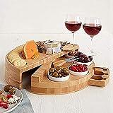 Juego de tabla de queso de bambú con cubiertos en cajón deslizable, bandeja redonda de madera para servir carne, vino, queso