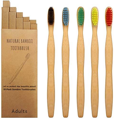 Kemes® Bambus Zahnbürsten Mittel 10er Holzzahnbürste Zahnbürste Holz Zahnbürsten Bamboo Toothbrush 100% BPA freie, Plastikfrei, Umweltfreundlich