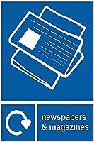 注意サイン-新聞や雑誌のリサイクル。通知のためのインチ通りの交通危険屋外の防水および防錆の金属錫の印