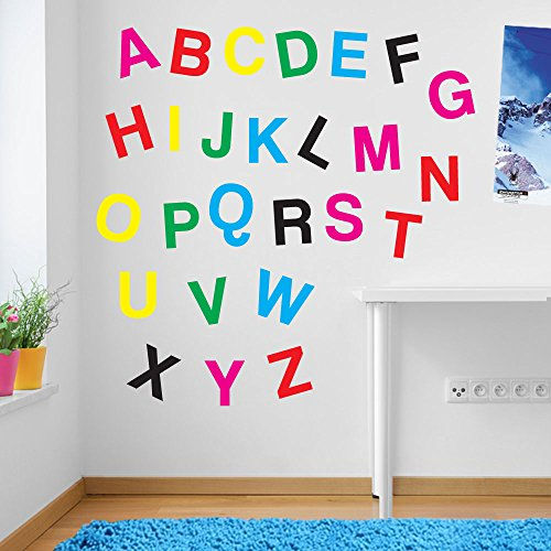 Lettres de l'alphabet enfants Chambre d'enfant salle de jeux Décoration murale fenêtre Stickers Décoration murale Stickers muraux Décoration murale Stickers muraux Stickers Autocollant mural Stickers panoramique Décor DIY Deco amovible Stickers muraux colorés stickers, Vinyle, Mixed as Pictured, Large Set