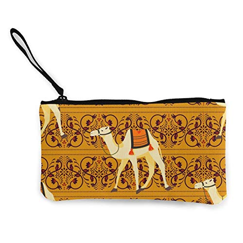 Canvas Coin,Camels Oriental Decorative Motifs Purse Zippered Travel Cosmetics Bag Multi-Function Makeup Bags Cellphone Bag Holder Bags Pencil Packet with Handle