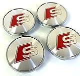 Juego de 4 tapacubos centrales de llantas, con logotipo rojo, bujes de cobertura, color gris/plateado cromado, de 60 mm