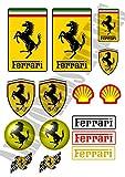 AWS. Kit de 15pegatinas réplicas de Ferrari impermeables para coche/ moto (2formatos recortados con plóter). Adhesivos con logos resistentes al agua Foglio A4 (29,7x21cm)