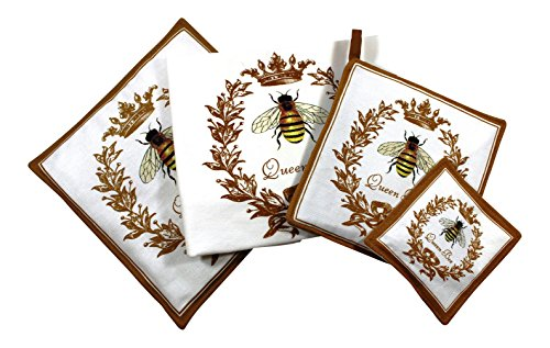 Queen Bee Towel Spiced Hot Pad Pot Holder Spice Mug Mat 4 Piece Kitchen Gift Set