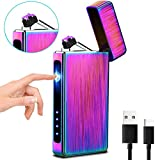 Image of XIMU Electric Lighter, Plasma Lighter USB Rechargeable Double Arc Touch Control Portable with Battery Display, Flameless & Windproof Lighter with Vertical Electrode for Cigarette/Candle (colorful)