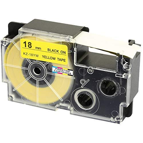 Kassette XR-18YW XR-18YW1 schwarz auf gelb 18mm x 8m Schriftband kompatibel für CasioKL-60 KL-100 KL-120 KL-200 KL-300 KL-750 KL-780 KL-820 KL-2000 KL-7000 KL-7200 KL-8100 CW-L300 Beschriftungsgerät