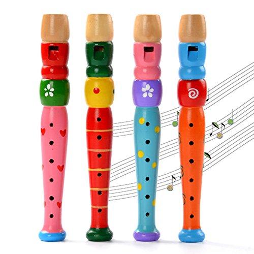 Kentop 1pcs Spielzeug Flöte für Kinder Baby Spielzeug Holz Musik Instrument (Farbe zufällig)
