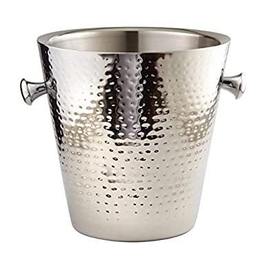 Elegance Hammered Stainless Steel Doublewall Champagne Bucket, 9 , Silver