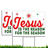 VIBE INK Jesus is The Reason for The Season Christmas Holiday Yard Sign, 24x18, Double-Sided, Large, Corrugated Plastic, Waterproof, Metal Stand Included - Made in The USA! (2)