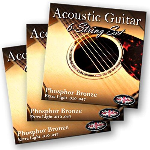 3 SETS! Adagio Professional Acoustic Guitar Strings 10-47 Phosphor Bronze