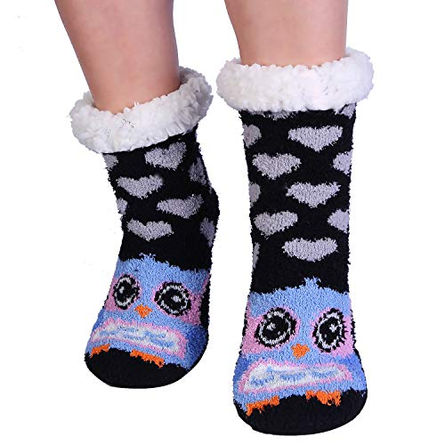 Owl Cozy Fuzzy Slipper Socks With Grippers for Women Cute Animal