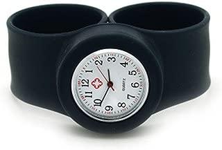 Vavna New Silicone Nurse Watch -Slap On Watch - Black - Adult Large Size