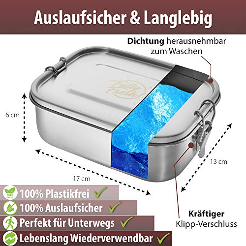 Fully Fresh Edelstahl Brotdose (Flexible Trennwand), auslaufsicher & plastikfrei, 1.000ml | Lunchbox, Brotzeitbox, Vesperdose