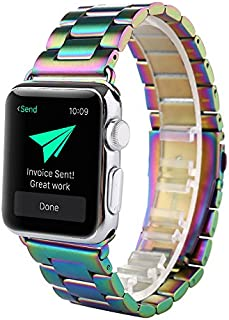 SHJD Band Compatible with Apple Watch, 38mm Stainless Steel iWatch Wristband Metal Buckle Clasp Strap Replacement Link Bracelet for Apple Watch Series 3/2/1 Sports Edition (Colorful, 38mm)