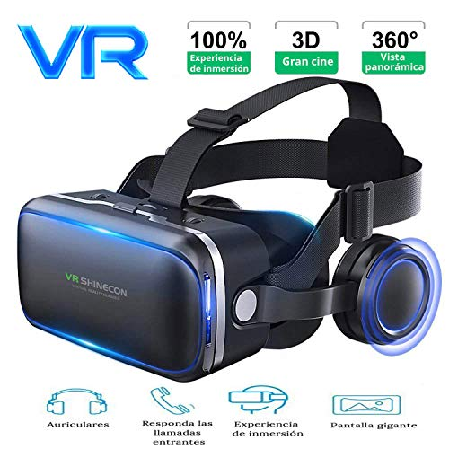 3D VR Gafas de Realidad Virtual, Gafas vr para Juegos Visión Panorámico 360 Grado Película 3D gafas de…
