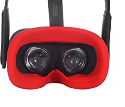 Esimen VR Silicone Face Cover for Oculus Quest Face Cushion Pad Cover Sweatproof Lightproof (Red)