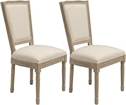 Crestlive Products Parsons Dining Chairs, Upholstered Accent Chair Armless Urban Style Padded Linen Fabric with Solid Wood...