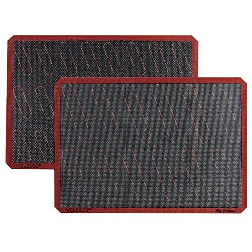 Silicone Eclair Baking Mat - Set of 2 Half Sheet 11 5/8' x 16 1/2' - Non Stick Micro Perforated Silicon Liner by Velesco