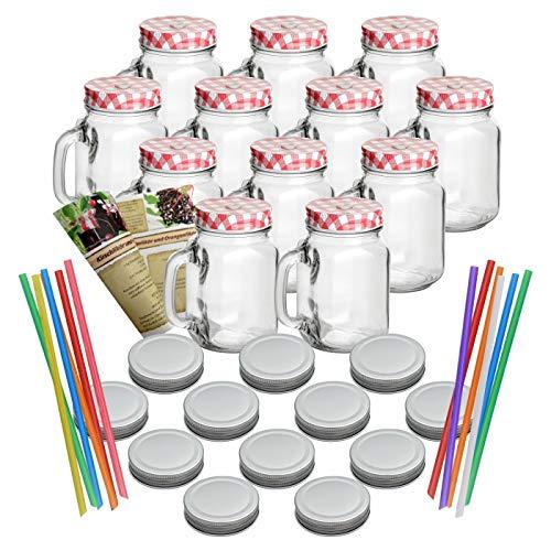 gouveo 12er Set Leere Trinkgläser 450 ml incl. Drehverschluss Rot, Silber und Strohhalm, Henkelgläser, Gläser mit Griff incl. Flaschendiscount-Rezeptbroschüre