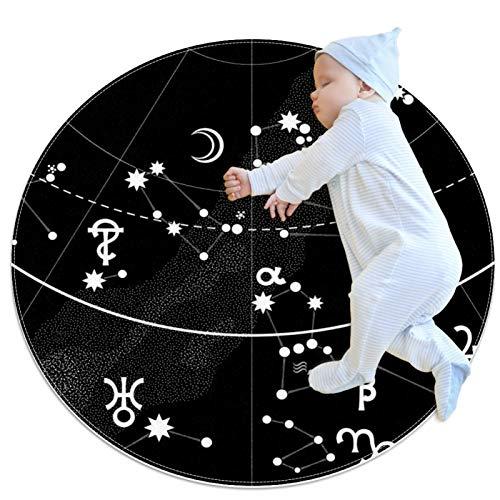 Alfombra redonda, felpudos, alfombra,Atlas astronómico del cielo nocturno Antideslizante para dormitorio, sala de estar, habitación para niños o para libros