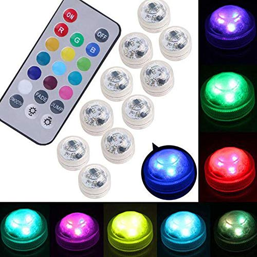 Submersible LED Lights, 10Pcs Remote Control Underwater Lights Battery Powered Flameless LED Color Changing Accent Light Swimming Pool Led Light Tea Light