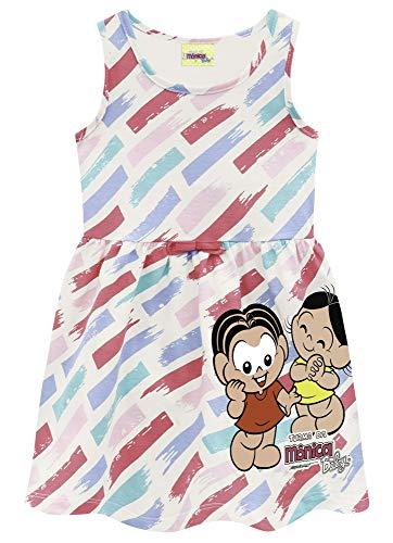 Vestido Infantil Turma da Mônica Brandili Verão Menina 1-3 Anos (azul claro/rosa/verde, 3)