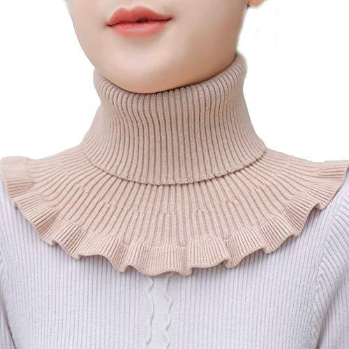 UXTX High Grade Turtleneck Dickey Collar Knitted Fake Collar, Knitted False Collars Womens, False Collars Womens Neck (Apricot)