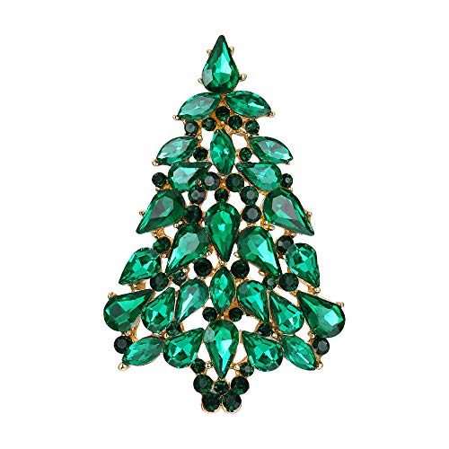 EVER FAITH Green Austrian Crystal Teardrop Party Christmas Tree Brooch Pin Gold-Tone