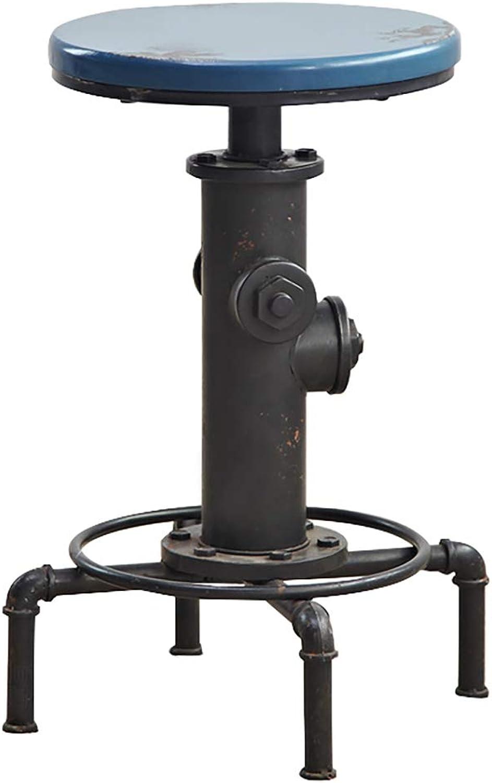 American Antique Vintage Industrial bar Stool, Solid Wood Hose fire Hydrant Design Metal bar Chair, Coffee Shop Coffee Industrial Stool