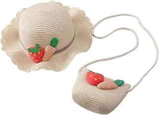 Toyvian 1Set Girls Straw Hat Cross Body Bag Summer Beach Hat for Baby Girls Kids Children Toddlers (Light Coffee)