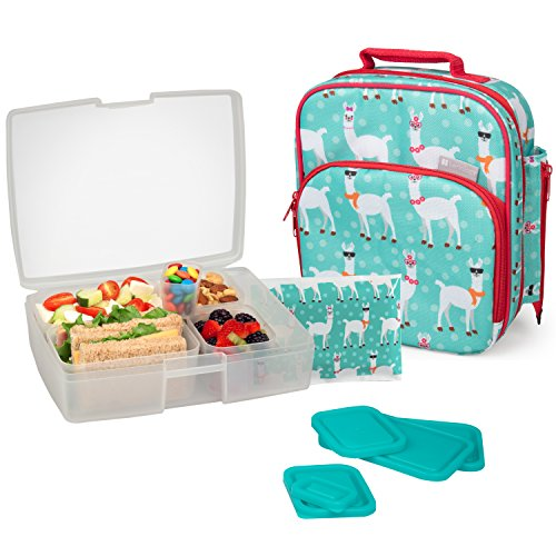 Kids Insulated Lunchbox Tote, Bento Box, 5 Containers and Ice Pack - Llama