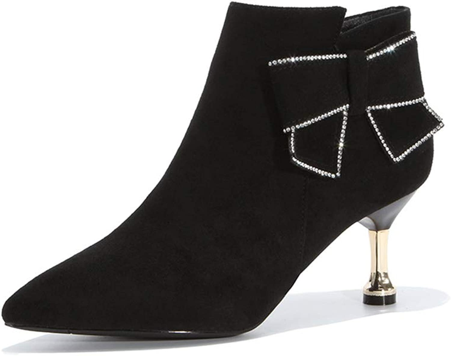 Women's Ankle Boots Suede Fashion Bow Dress shoes Chunky Heel shoes Martin Boots Pointed High Heels Zipper Martin Boots Black (color   Black, Size   36)