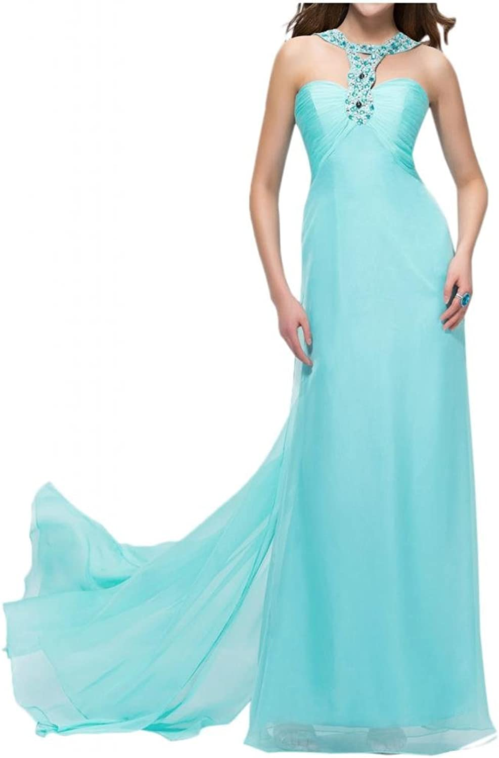 Angel Bride Graceful Empire Floor Length Evening Prom Gowns with Train