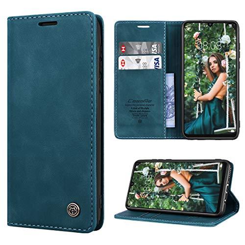 RuiPower Handyhülle für Huawei P30 Lite Hülle Premium Leder PU Flip Magnet Wallet Klapphülle Silikon Bumper Schutzhülle für Huawei P30 Lite/Huawei P30 Lite New Edition Tasche - Blaugrün