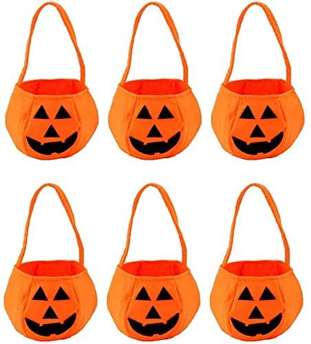 DSLIHA 6Pcs Halloween Pumpkin Candy Bag, Trick or Treat Bags Candy Goodies Gift Handbag for Halloween Party, Kids Children Snack Basket Storage Bag