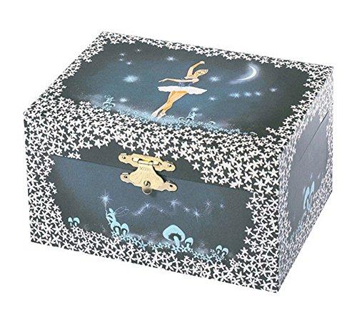 Trousselier - Ballerina - Musikschmuckdose - Spieluhr - Ideales Geschenk für junge Mädchen - Phosphoreszierend - Leuchtet im Dunkeln - Musik Schwanensee - Farbe dunkelblau