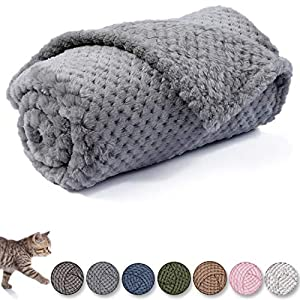 Dog Blanket or Cat Blanket or Pet Blanket, Warm Soft Fuzzy Blankets for Puppy, Small, Medium, Large Dogs or Kitten, Cats, Plush Fleece Throws for Bed, Couch, Sofa, Travel (M/32″ x 40″, Grey)