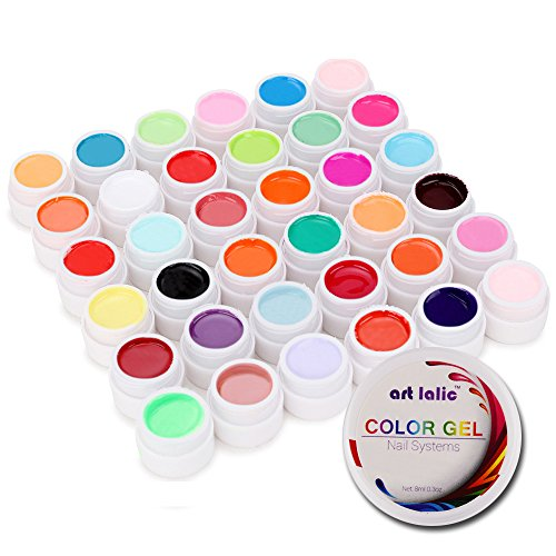 Artlalic 36 Couleurs Nail Art Gel UV Pure Coque Couleurs Design extension Builder DIY Conseils Set