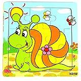 Hosaire 1x Rompecabezas de Madera Imágenes de Dibujos Animados Puzzles Infantiles Juguetes para niños de 2 a 5 años Juego Aprendizaje Educativo de Rompecabezas Regalos de Cumpleaños(Caracol)