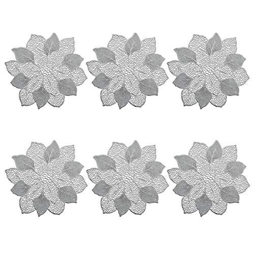 Zeller Lot de 6 Sets de Table « Flower » en PVC argenté