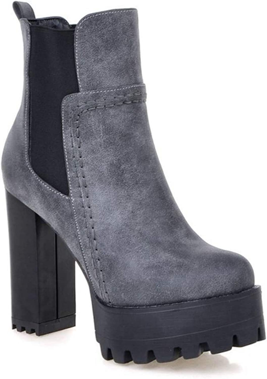 Women's Buckle Round Toe Chunky Heeled Ankle Booties Side Zip Casual Platform Block Heel shoes