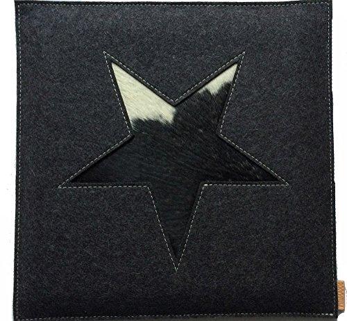 Stuhlkissen Stern anthrazit Filz echtes Kuhfell Kuh Motiv Sitzkissen ca 33 x 33