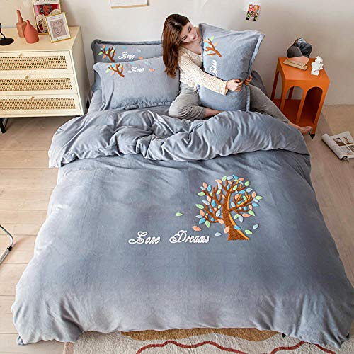 Juego de Funda de edredón tamaño King-Invierno leche terciopelo sábana de cama de cuatro piezas funda nórdica de terciopelo de cristal sábana funda de almohada ropa de cama de regalo-C_Cama de 1,8 m