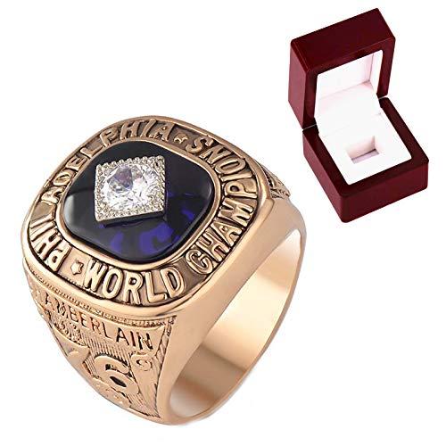 FGRGH Anillo de campeón de los años 76 Philadelfia de los años 76 Wilt Chamberlain, réplica del anillo del campeonato de baloncesto con caja de 11